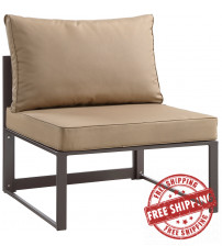 Modway EEI-1520-BRN-MOC Fortuna Outdoor Patio Armless Chair in Brown Mocha