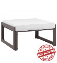 Modway EEI-1521-BRN-WHI Fortuna Outdoor Patio Ottoman in Brown White
