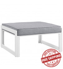 Modway EEI-1521-WHI-GRY Fortuna Outdoor Patio Ottoman in White Gray