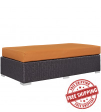 Modway EEI-1847-EXP-ORA Convene Outdoor Patio Fabric Rectangle Ottoman in Espresso Orange