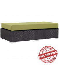 Modway EEI-1847-EXP-PER Convene Outdoor Patio Fabric Rectangle Ottoman in Espresso Peridot