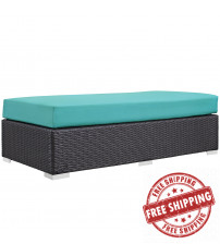 Modway EEI-1847-EXP-TRQ Convene Outdoor Patio Fabric Rectangle Ottoman in Espresso Turquoise