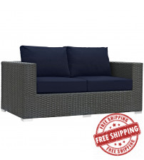 Modway EEI-1851-CHC-NAV Sojourn Outdoor Patio Sunbrella Loveseat in Canvas Navy