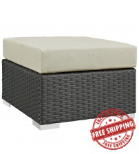 Modway EEI-1855-CHC-BEI Sojourn Outdoor Patio Sunbrella Ottoman in Canvas Antique Beige