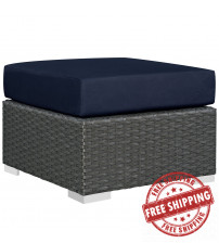 Modway EEI-1855-CHC-NAV Sojourn Outdoor Patio Sunbrella Ottoman in Canvas Navy