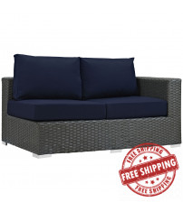 Modway EEI-1857-CHC-NAV Sojourn Outdoor Patio Sunbrella Right Arm Loveseat in Canvas Navy