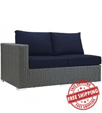 Modway EEI-1858-CHC-NAV Sojourn Outdoor Patio Sunbrella Left Arm Loveseat in Canvas Navy