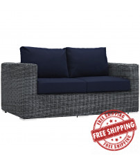 Modway EEI-1865-GRY-NAV Summon Outdoor Patio Sunbrella Loveseat in Canvas Navy