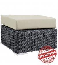 Modway EEI-1869-GRY-BEI Summon Outdoor Patio Sunbrella Ottoman in Canvas Antique Beige