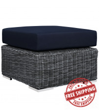 Modway EEI-1869-GRY-NAV Summon Outdoor Patio Sunbrella Ottoman in Canvas Navy