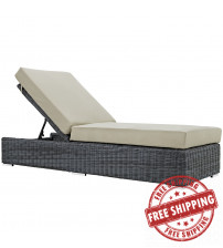Modway EEI-1876-GRY-BEI Summon Outdoor Patio Sunbrella Chaise Lounge in Canvas Antique Beige
