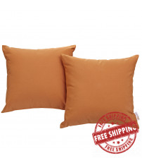 Modway EEI-2001-ORA Convene Two Piece Outdoor Patio Pillow Set in Orange