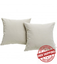 Modway EEI-2002-BEI Summon 2 Piece Outdoor Patio Pillow Set in Beige
