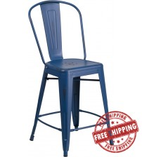 "Flash Furniture ET-3534-24-AB-GG 24"" High Distressed Metal Indoor-Outdoor Counter Height Stool with Back in Antique Blue"