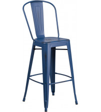 "Flash Furniture ET-3534-30-AB-GG 30"" High Distressed Metal Indoor-Outdoor Barstool with Back in Antique Blue"