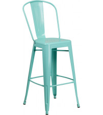 Flash Furniture ET-3534-30-MINT-GG 30'' High Green Metal Indoor-Outdoor Barstool with Back in Mint
