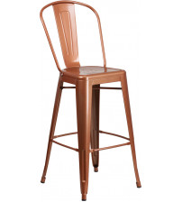 Flash Furniture ET-3534-30-POC-GG 30'' High Metal Indoor-Outdoor Barstool with Back in Copper