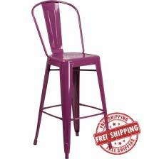 Flash Furniture ET-3534-30-PUR-GG 30'' High Metal Indoor-Outdoor Barstool with Back in Purple
