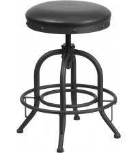 "Flash Furniture ET-BR542-224-GG 24"" Counter Height Stool with Swivel Lift Black Leather Seat"