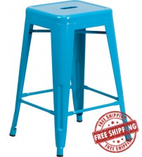 Flash Furniture ET-BT3503-24-CB-GG 24'' High Backless Crystal Indoor-Outdoor Counter Height Stool in Blue