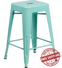 Flash Furniture ET-BT3503-24-MINT-GG 24''H Backless Green Indoor-Outdoor Counter Height Stool in Mint