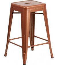 Flash Furniture ET-BT3503-24-POC-GG 24''H Backless Indoor-Outdoor Counter Height Stool in Copper