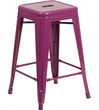 Flash Furniture ET-BT3503-24-PUR-GG 24'' High Backless Indoor-Outdoor Counter Height Stool in Purple