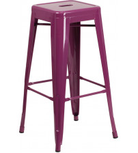 Flash Furniture ET-BT3503-30-PUR-GG 30''H Backless Indoor-Outdoor Barstool in Purple
