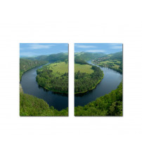 Baxton Studio Fg-1044Ab Wraparound Waterway 2 Mounted Photography Print Diptych
