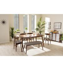 Baxton Studio Flora-Medium Oak 6PC Dining Set Flora Modern Light Grey Fabric and Oak 6-Piece Dining Set