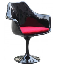 Fine Mod Imports Flower Arm Chair FMI1133 Black with red cushions