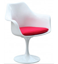 Fine Mod Imports Flower Arm Chair FMI1133 White with red cushion