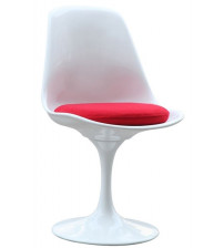 Fine Mod Imports Flower Side Chair FMI1139, White with red cushion
