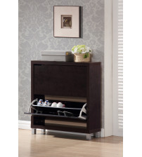 Baxton Studio Fp-2Ous-Cappucino Simms Dark Brown Modern Shoe Cabinet