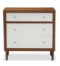 Baxton Studio FP-6782-Walnut/White Harlow Mid-century White and Walnut Wood 3-Drawer Chest
