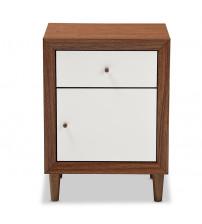 Baxton Studio FP-6783-Walnut/White-NS Harlow White and Walnut Wood 1-Drawer and 1-door Nightstand