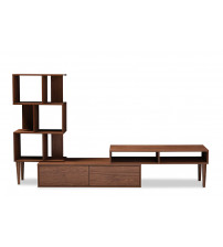 Baxton Studio FP-6784-Walnut-TV Haversham Retro Modern TV Stand Entertainment Center and Display Unit
