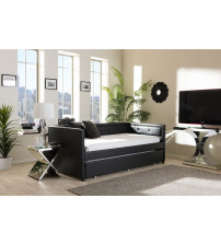 Baxton Studio Frank-Black-Daybed Frank Button-Tufting Sofa Twin Daybed with Roll-Out Trundle Guest Bed