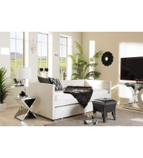Baxton Studio Frank-White-Daybed Frank Button-Tufting Sofa Twin Daybed with Roll-Out Trundle Guest Bed