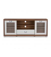 Baxton Studio FTV-886 Walnut/White Matlock Modern White TV Stand with Glass Door