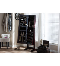 Baxton Studio GLD13316-Brown Alena Brown Finishing Wood Free Standing Cheval Mirror Jewelry Armoire