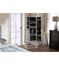 Baxton Studio GLD13358-White Vittoria Wood Square Foot Floor Standing Double Door Storage Jewelry Armoire Cabinet