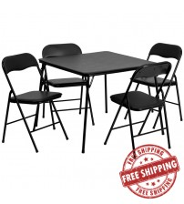 Flash Furniture 5 Piece Black Folding Card Table and Chair Set JB-1-GG