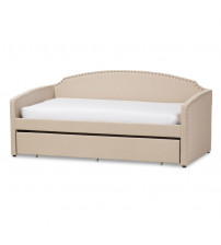 Baxton Studio Lanny-Beige-Daybed Lanny Nail Heads Trimmed Arched Back Sofa Twin Daybed