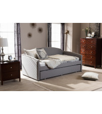 Baxton Studio Lanny-Grey-Daybed Lanny Back Sofa Twin Daybed with Roll-Out Trundle Guest Bed