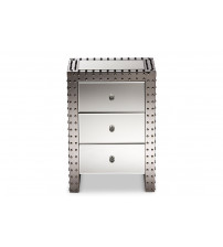 Baxton Studio LD2470 Azura Hollywood Regency Glamour Style Nightstand Bedside Table