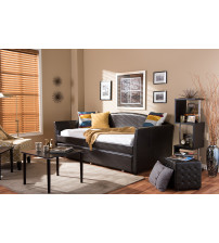 Baxton Studio London-Brown-Daybed London Back Sofa Twin Daybed with Roll-Out Trundle Guest Bed