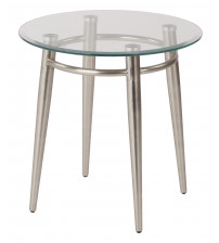 Ave Six MG0920R-NB Clear Tempered Glass Round Top End Table with Nickel Brushed Legs