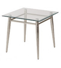 Ave Six MG0922S-NB Clear Tempered Glass Square Top End Table with Nickel Brushed Legs