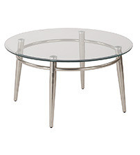 Ave Six MG1230R-NB Clear Tempered Glass Round Top Coffee Table with Nickel Brush Legs